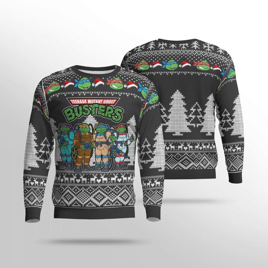 Teenage mutant Ghost Busters ugly sweater 1