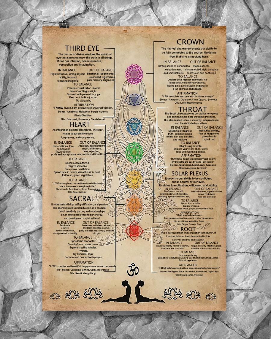7 Chakras Knowledge third eye heart sacral crown throat solar plexus root poster 1