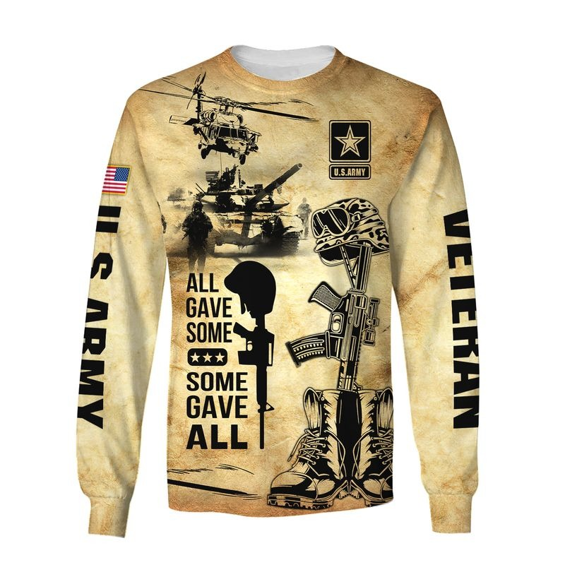 All gave some some gave all US army veteran all over print long sleeve
