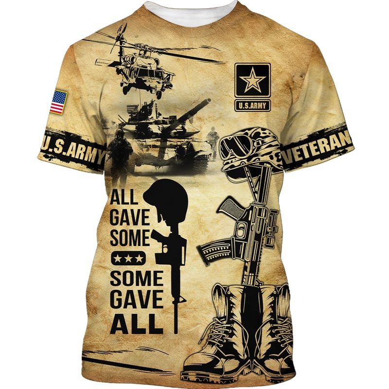 All gave some some gave all US army veteran all over print shirt