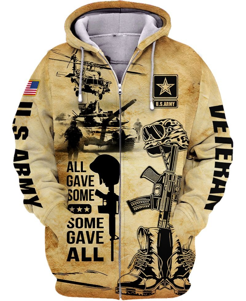 All gave some some gave all US army veteran all over print zip hoodie