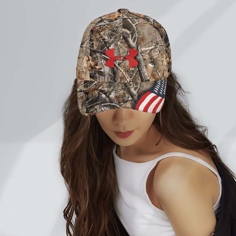American Flag Brim Deer Hunting Camo under armour cap 3