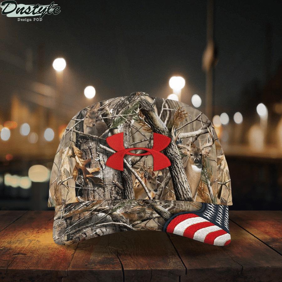 American Flag Brim Deer Hunting Camo under armour cap