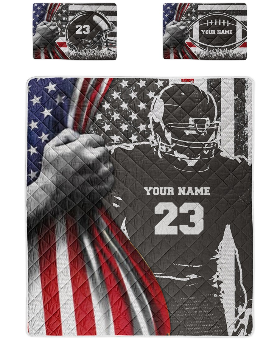 American football personalized quilt bed set