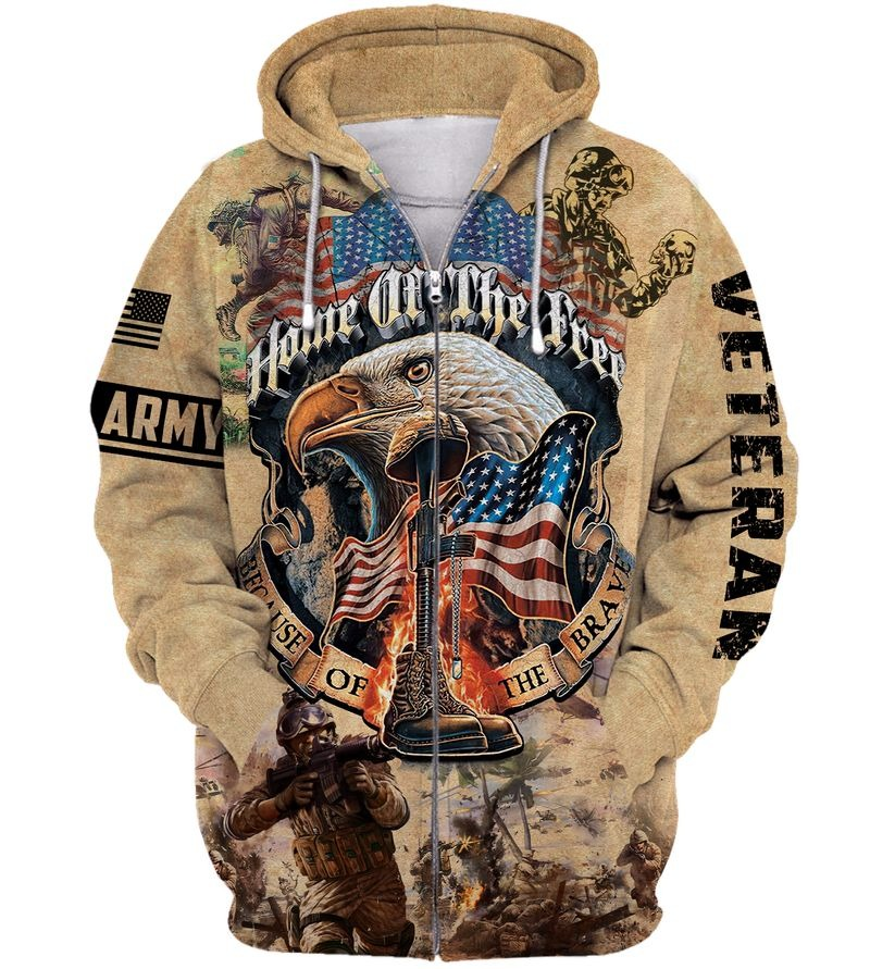 Army veteran home of the free because of the brave 3d zip hoodie