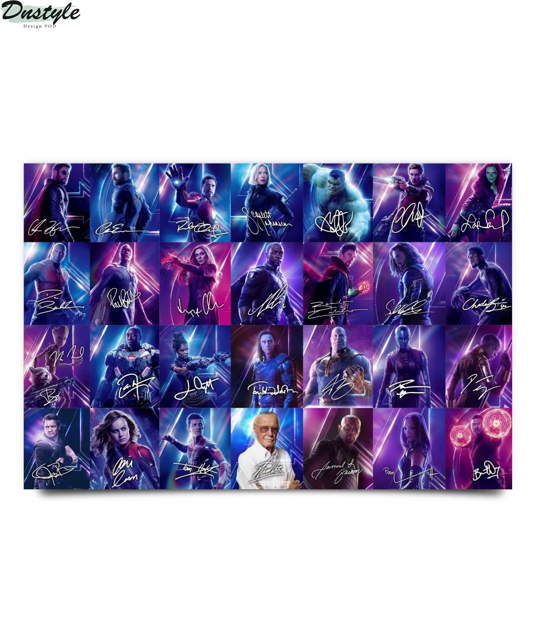 Avenger characters signature horizontal poster