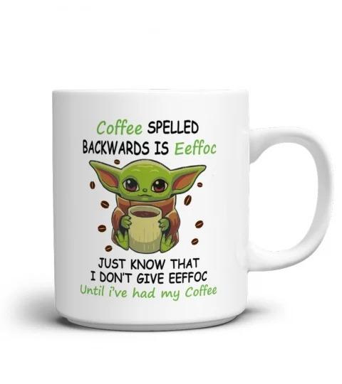 Baby yoda coffee spelled backward is eeffoc mug 1