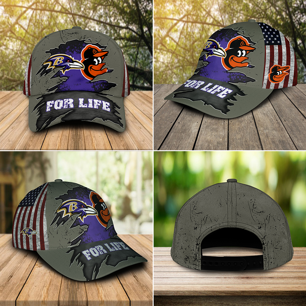 Baltimore ravens and baltimore orioles for life cap 3