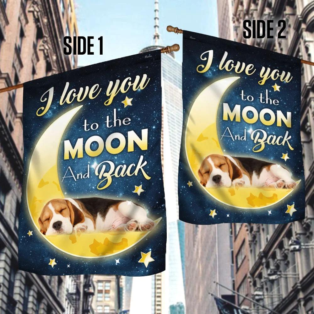 Beagle Dog Moon I Love You To The Moon And Back Flag 1