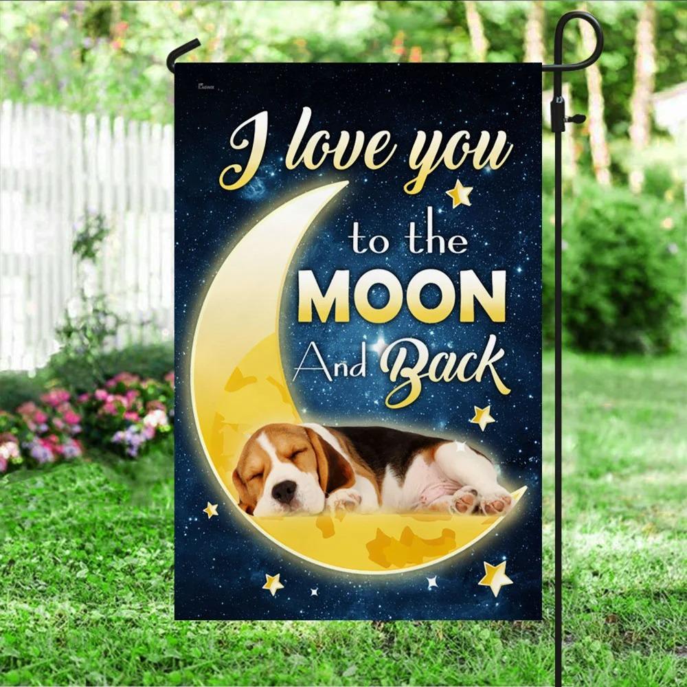 Beagle Dog Moon I Love You To The Moon And Back Flag 2