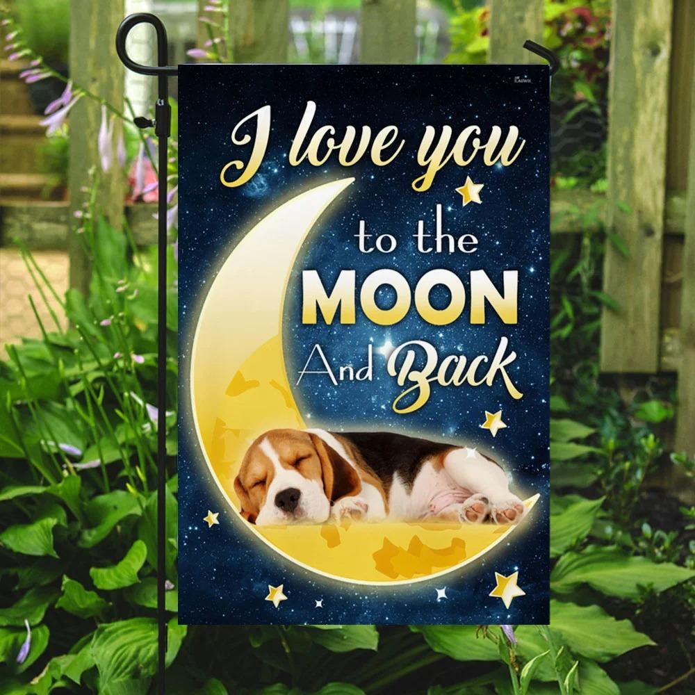 Beagle Dog Moon I Love You To The Moon And Back Flag 3