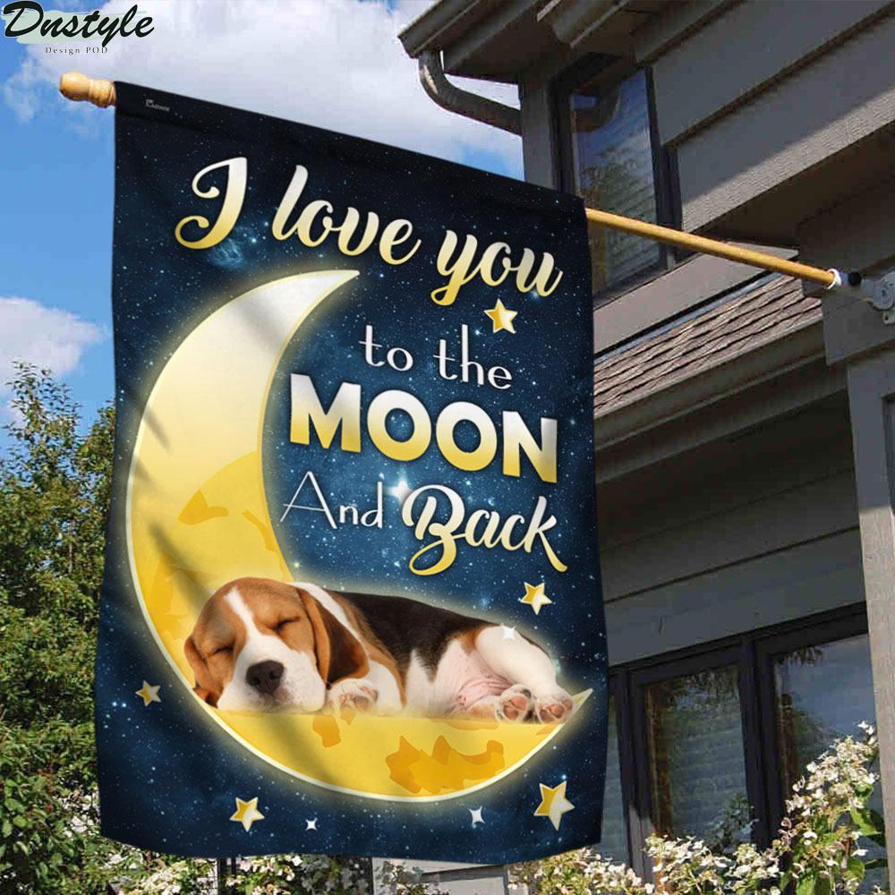 Beagle Dog Moon I Love You To The Moon And Back Flag