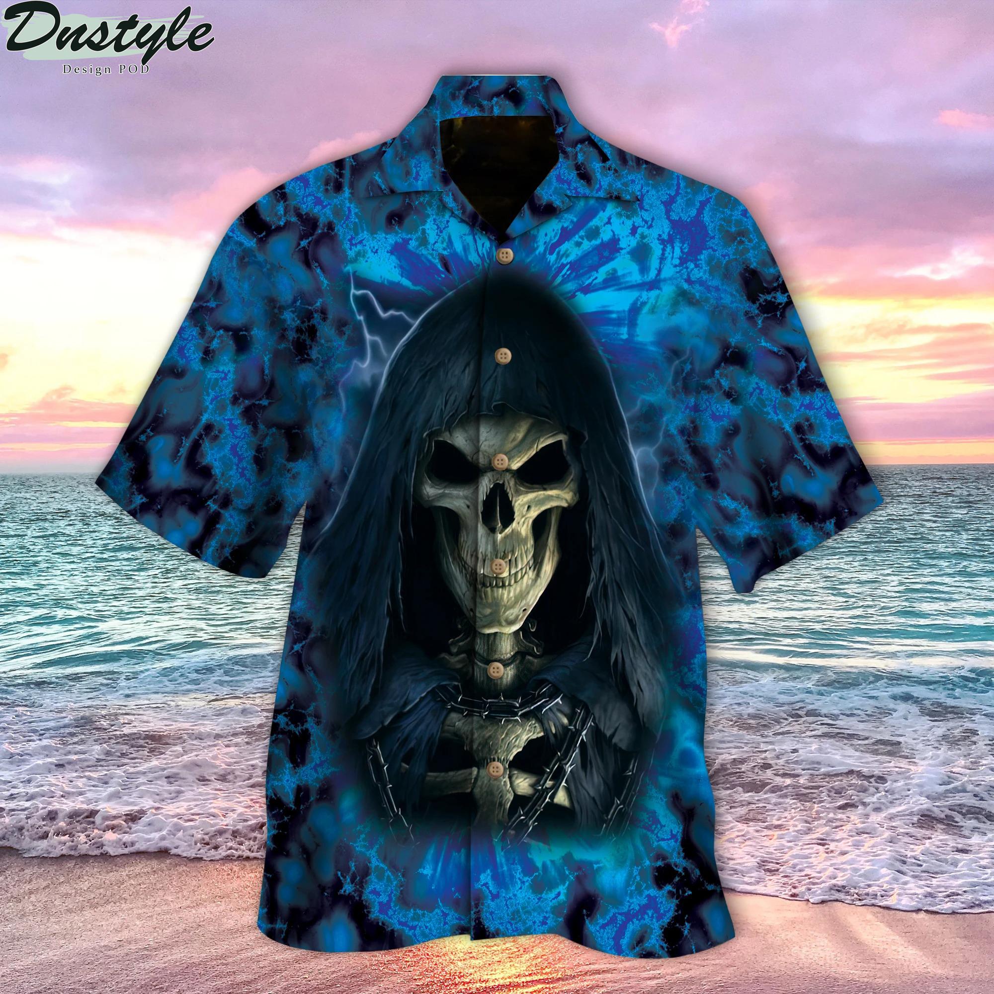 Blue Skull Hawaiian Shirt