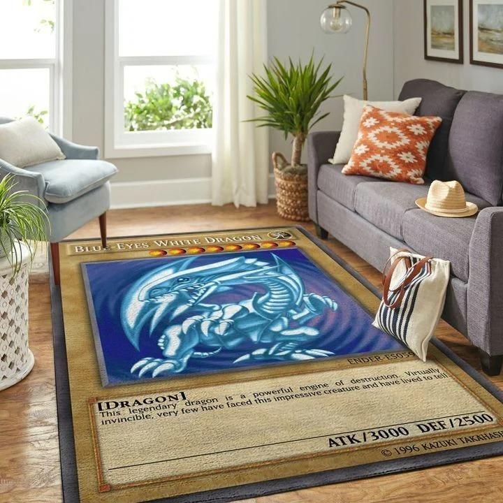Blue-eyes white dragon card rug 1