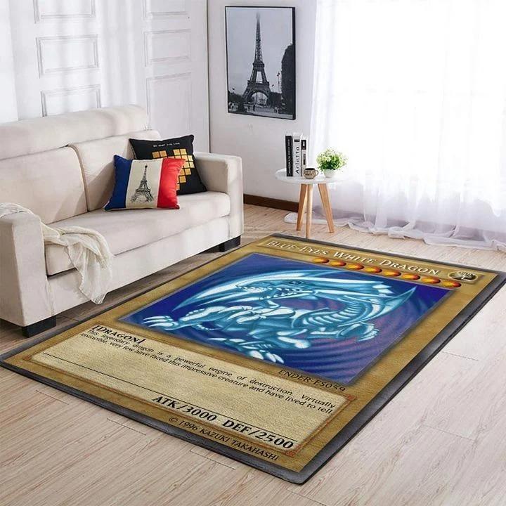 Blue-eyes white dragon card rug 2