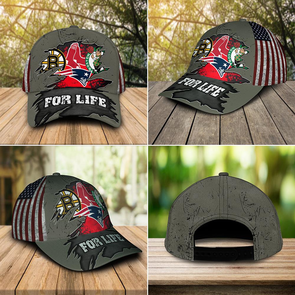 Boston Celtics New England Patriots Boston Bruins Boston Red Sox For Life Cap 3