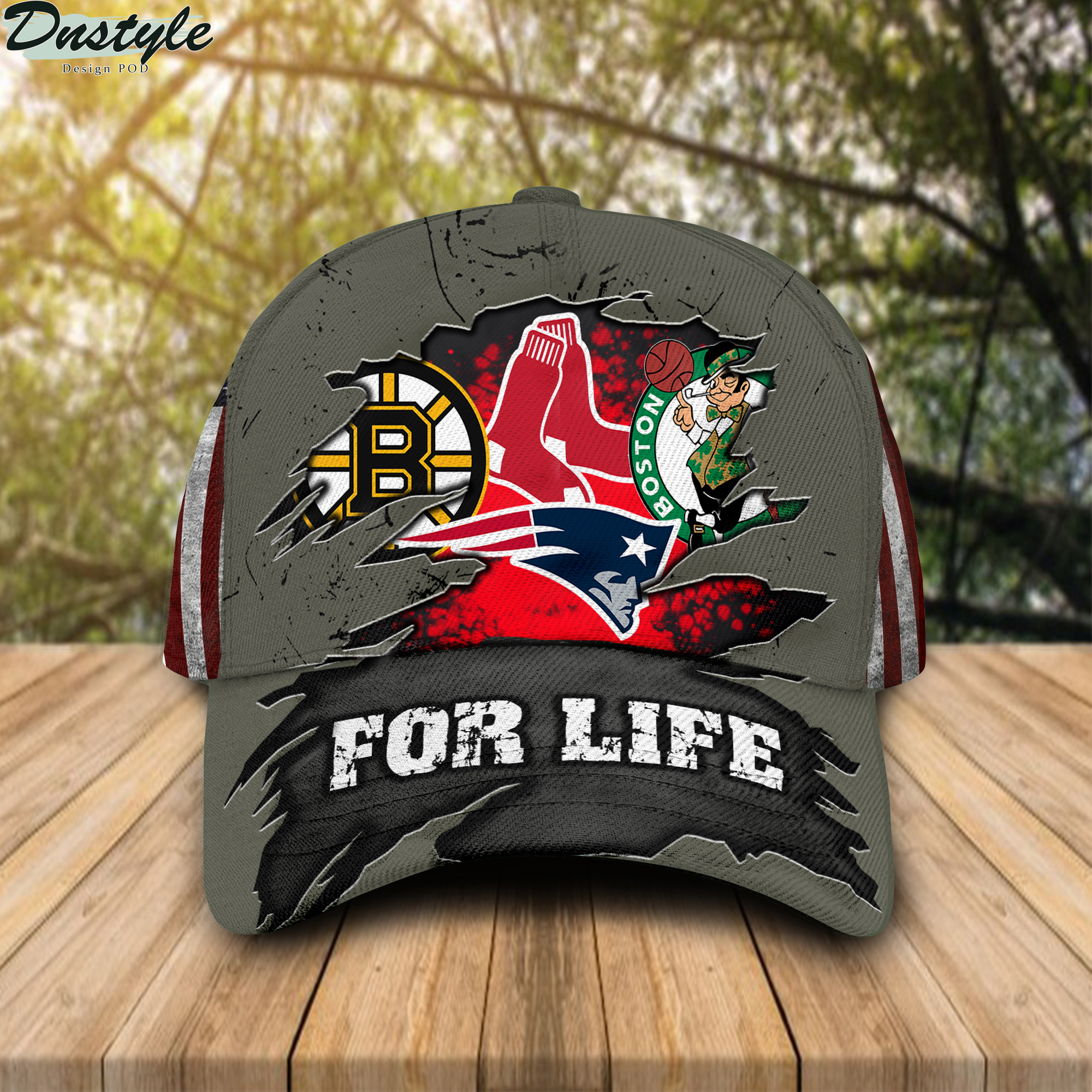 Boston Celtics New England Patriots Boston Bruins Boston Red Sox For Life Cap