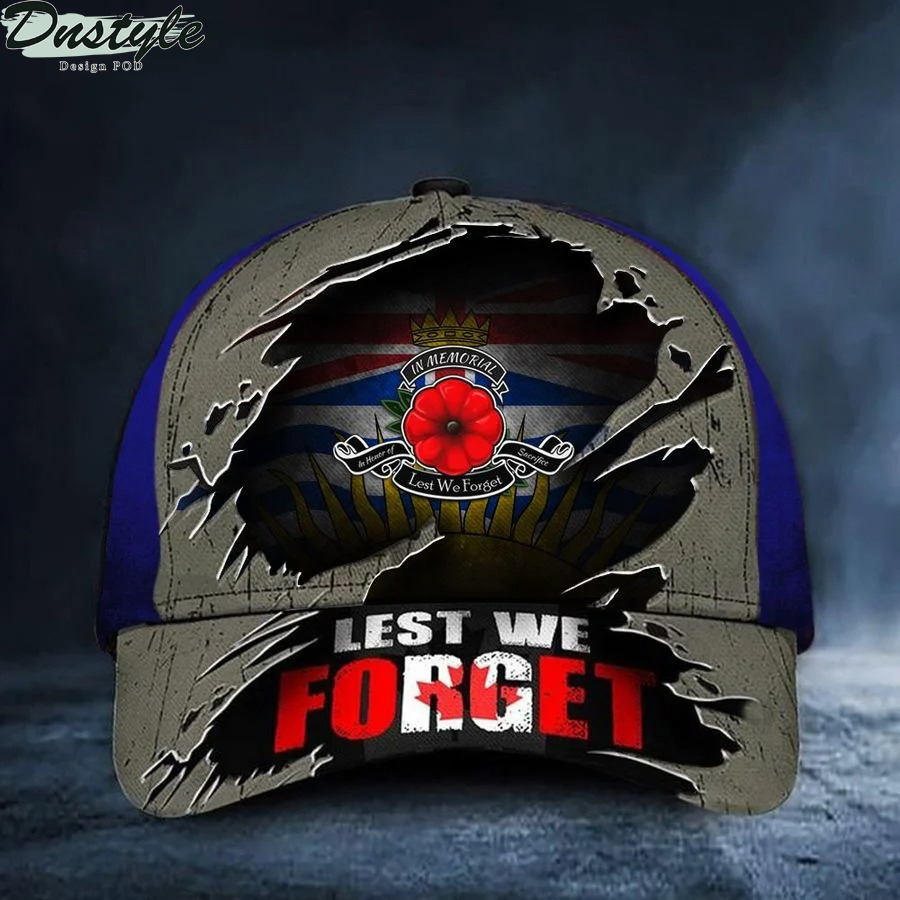 British Columbia Lest We Forget Poppy Canada Flag Remembrance Day Hat
