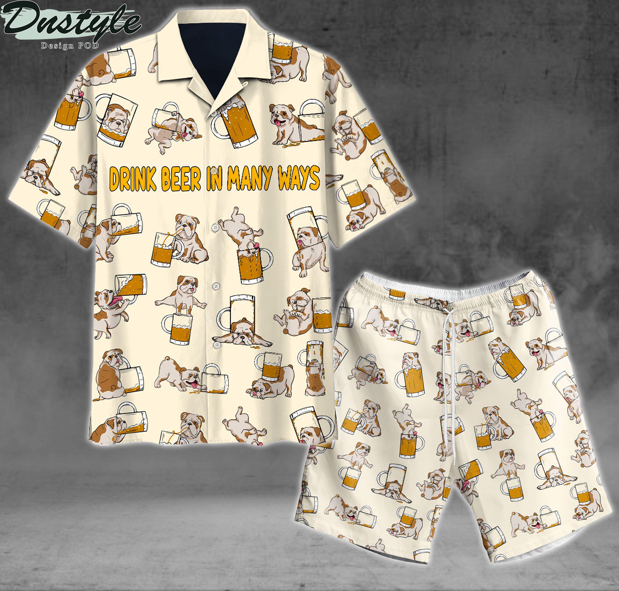 Bulldog drink beer in many ways hawaiian shirt and short
