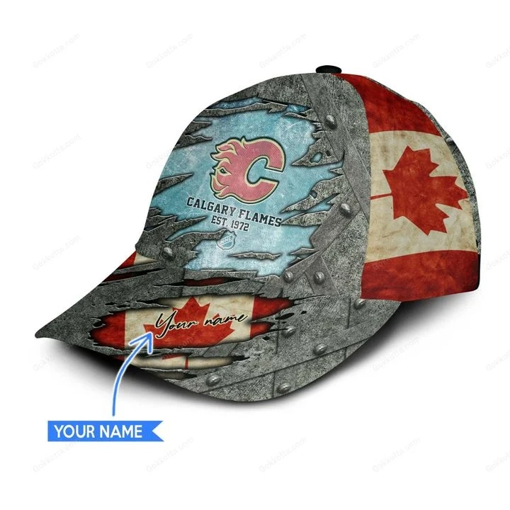 Calgary flames NHL personalized classic cap 3