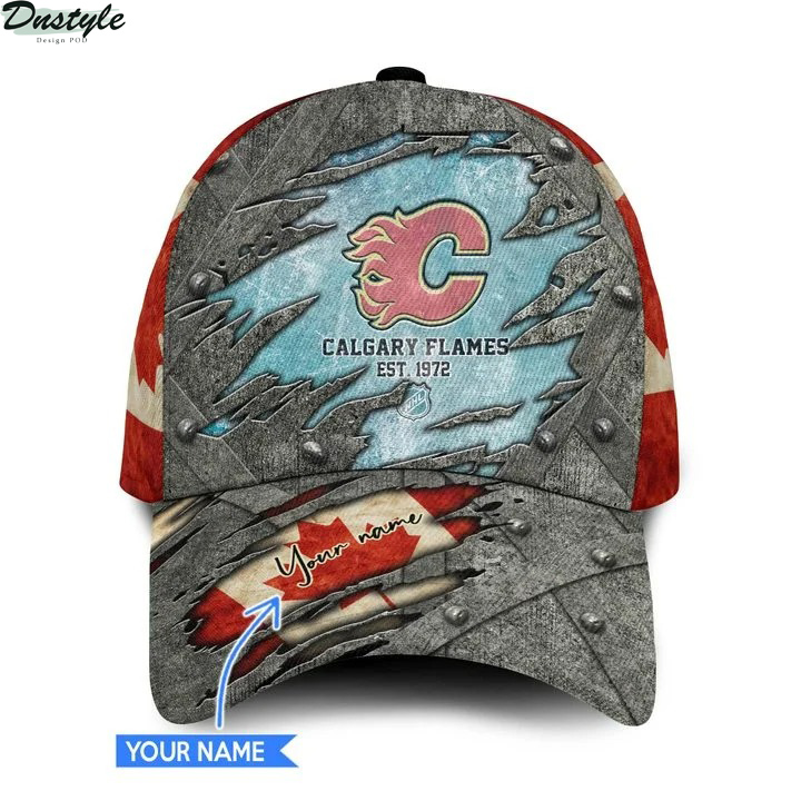 Calgary flames NHL personalized classic cap