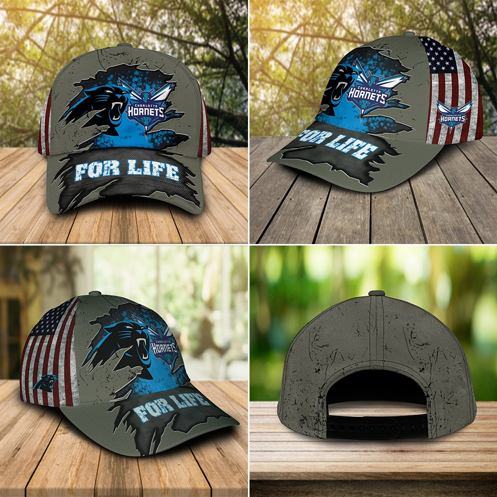 Carolina Panthers Charlotte Hornets for life cap 2