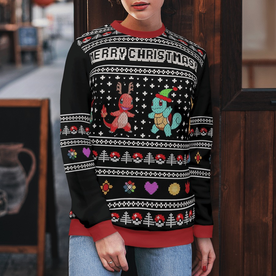 Charmander squirtle pokemon merry christmas ugly sweater 1