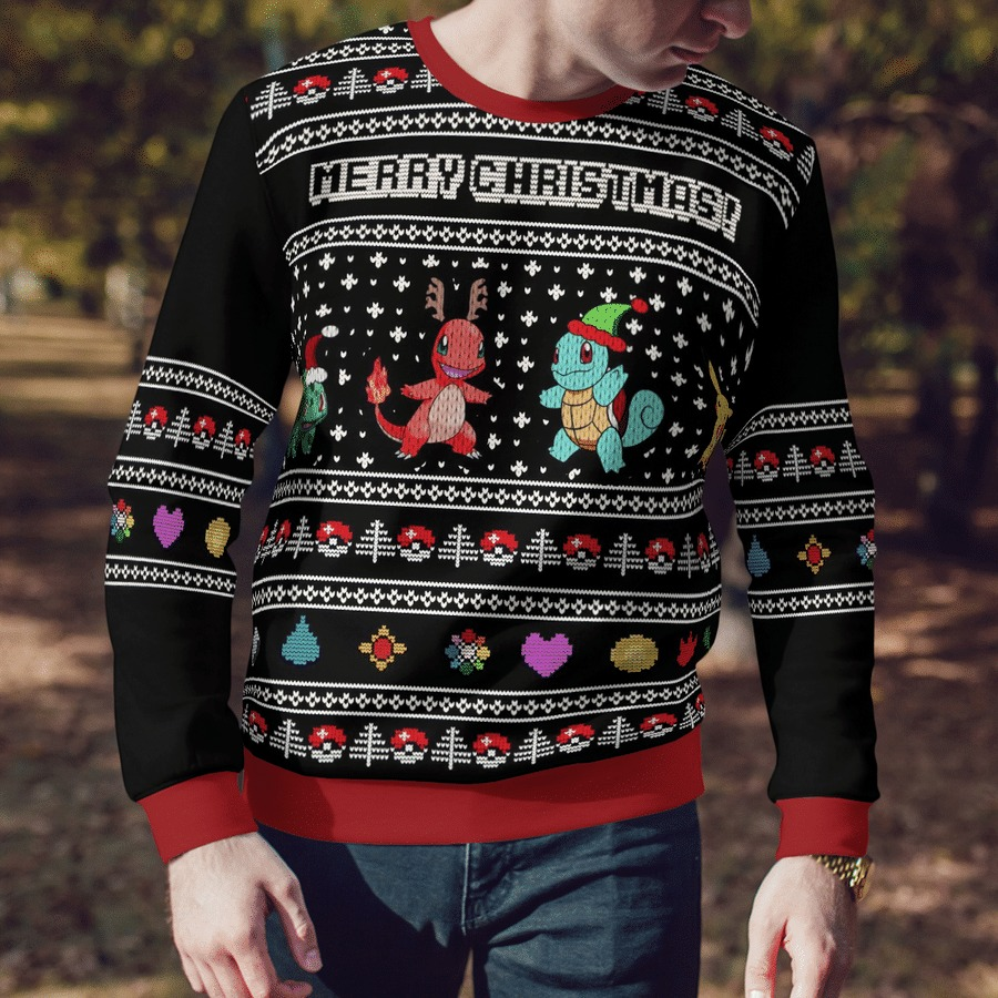 Charmander squirtle pokemon merry christmas ugly sweater 2