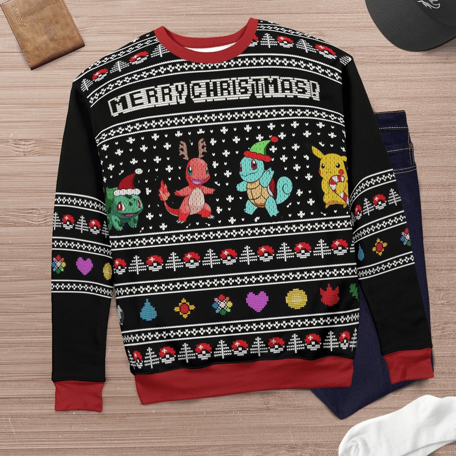Charmander squirtle pokemon merry christmas ugly sweater 3