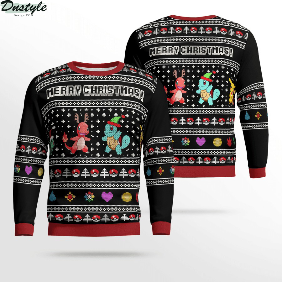 Charmander squirtle pokemon merry christmas ugly sweater