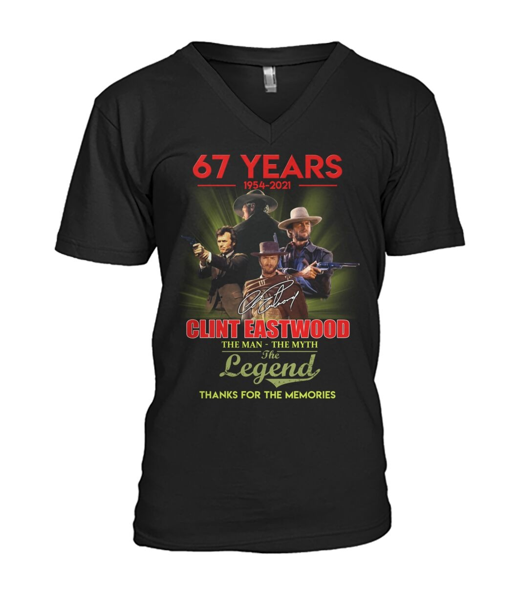 Clint Eastwood 67 years the man the myth the legend thanks for memories v-neck