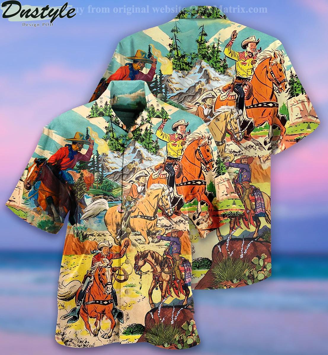 Cowboy real men ride horses hawaiian shirt