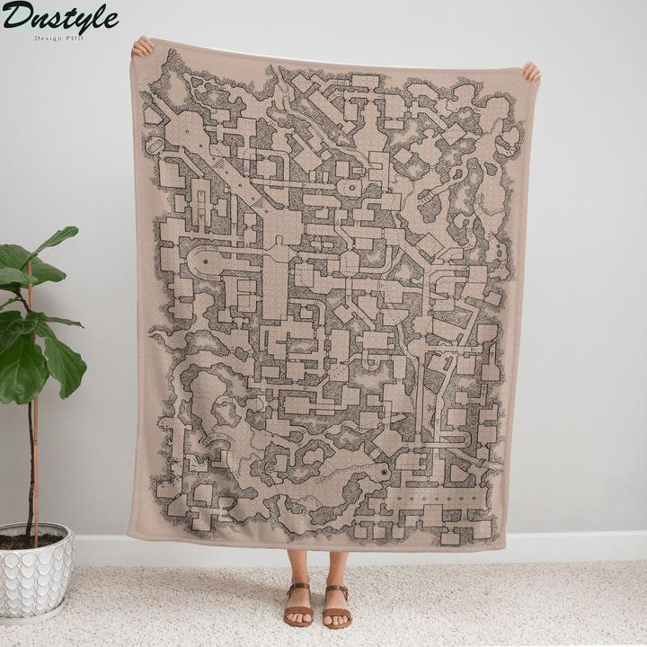 D and D map fleece blanket