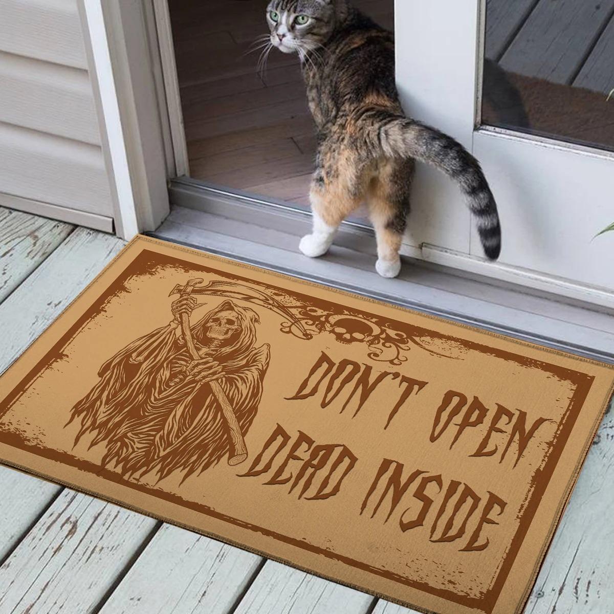 Death skeleton don't open dead inside doormat 1