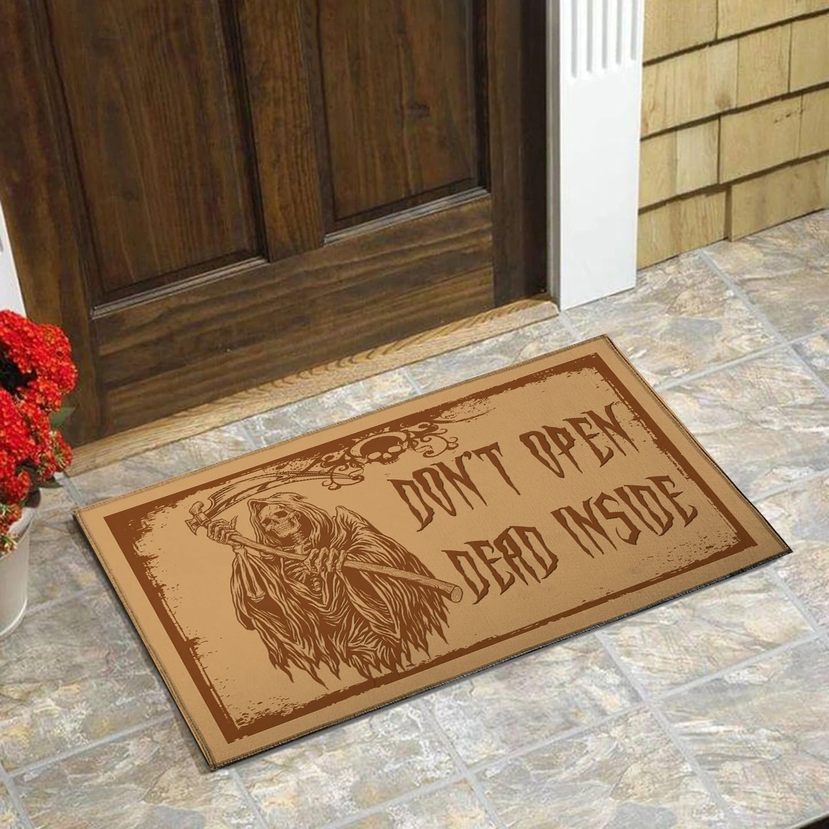 Death skeleton don't open dead inside doormat 2
