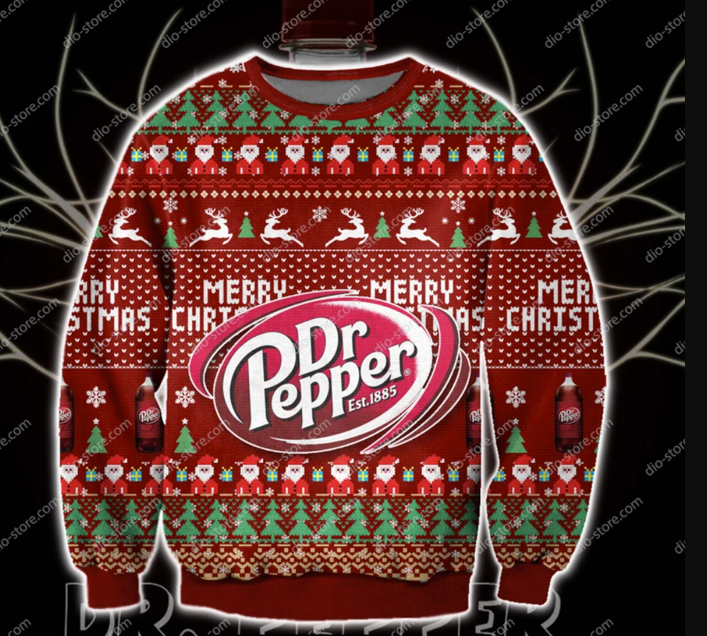 Dr Pepper Merry Christmas 3D ugly sweater