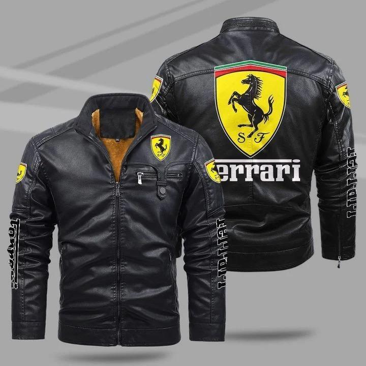 Ferrari fleece leather jacket