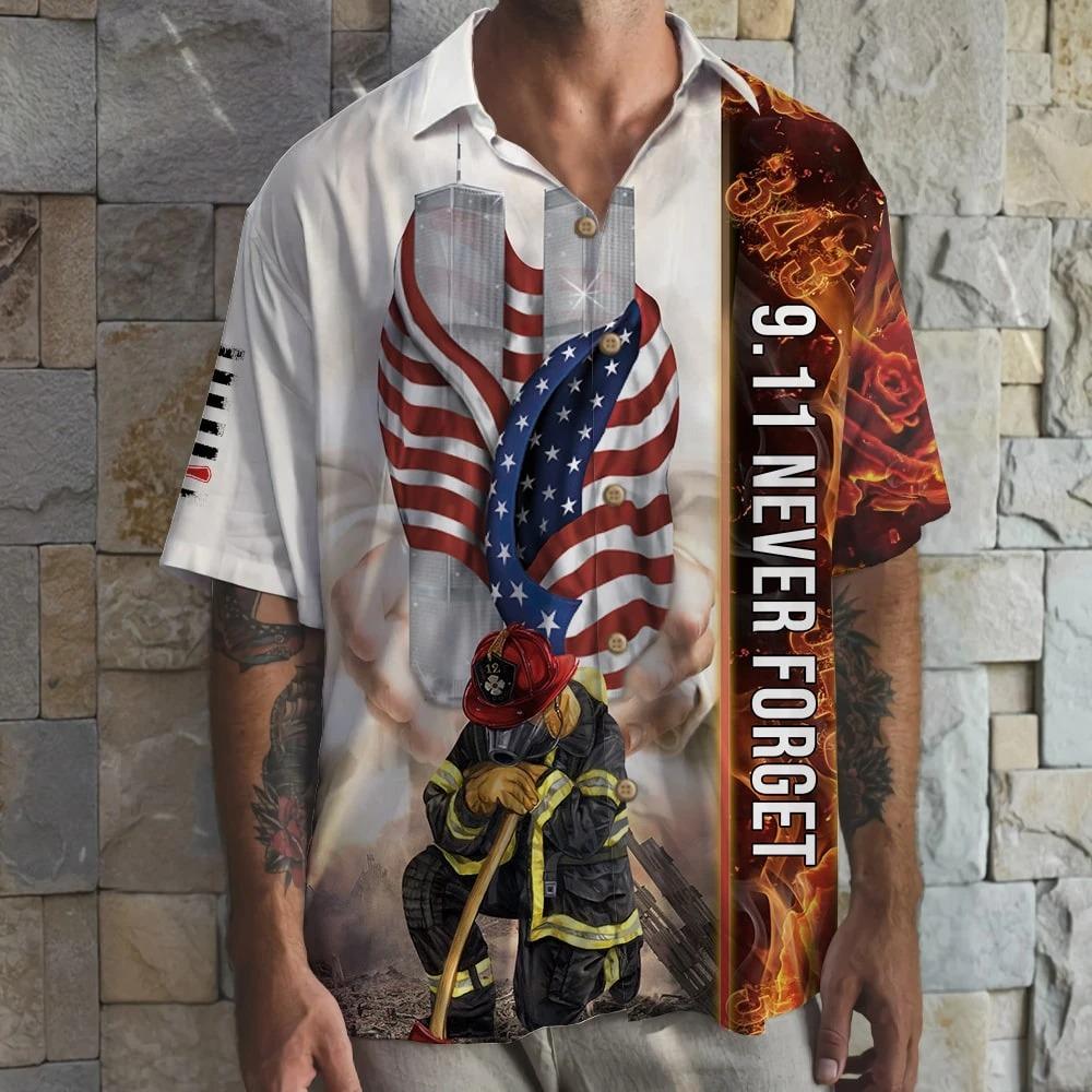 Firefighter 9 11 Never Forget Hawaiian Shirt 2