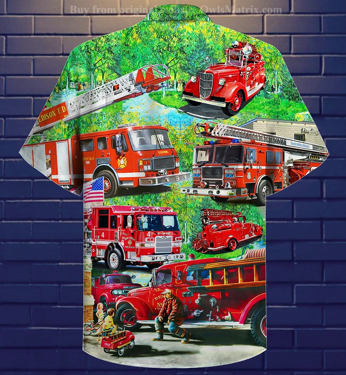 Firefighter brave just like my daddy hawaiian shirt 2
