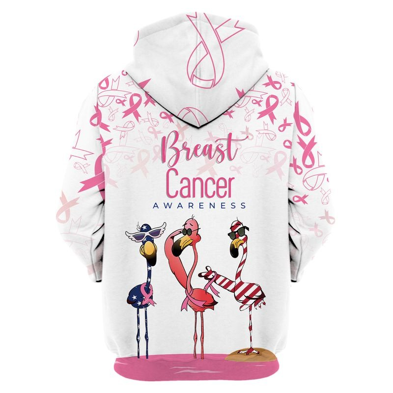 Flamingo breast cancer awareness all over printed hoodie 1