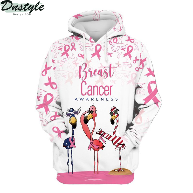Flamingo breast cancer awareness all over printed hoodie
