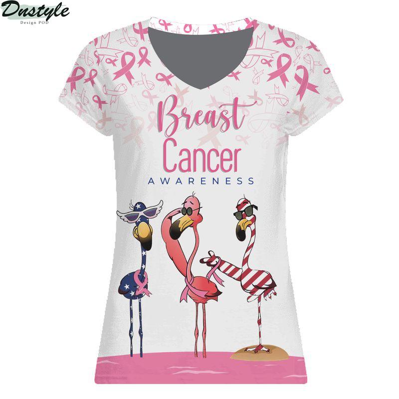 Flamingo breast cancer awareness all over printed woman v-neck shirt