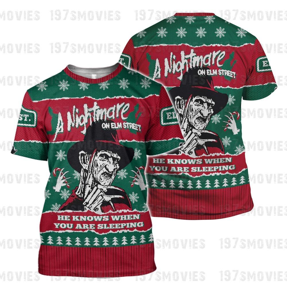 Freddy Krueger a nightmare on elm street horror movie 3d printed shirt