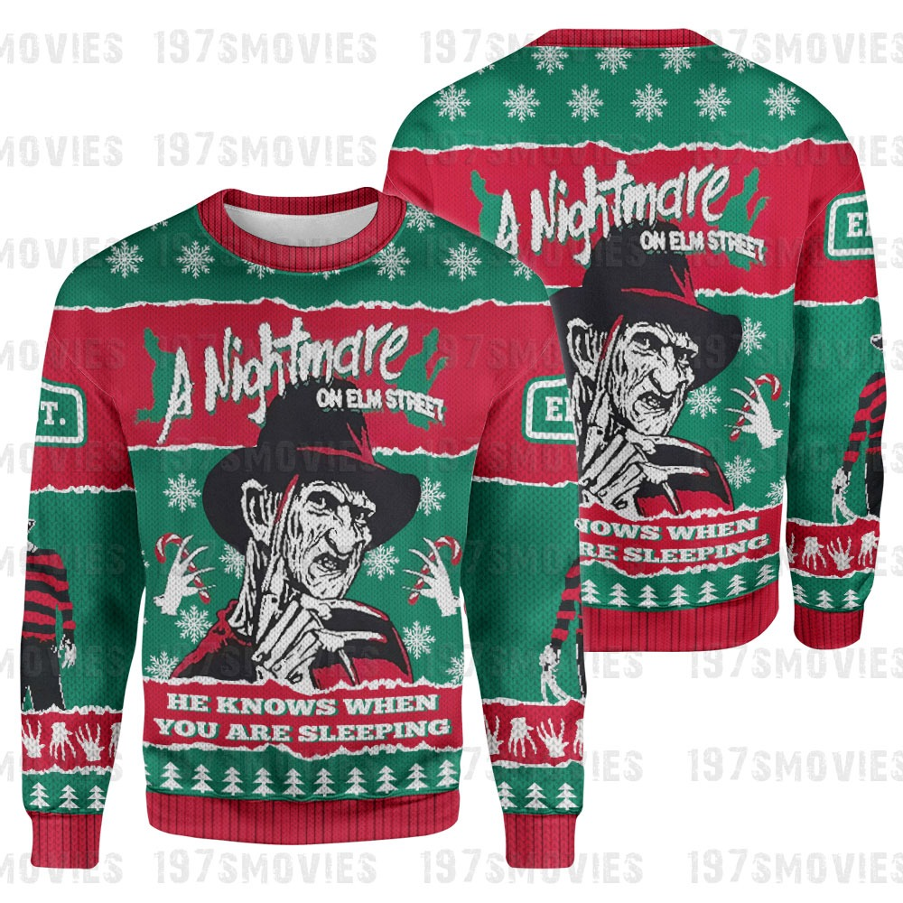 Freddy Krueger a nightmare on elm street horror movie 3d printed sweatshirt