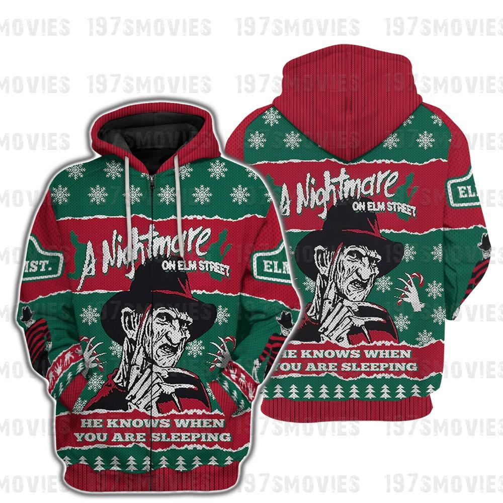 Freddy Krueger a nightmare on elm street horror movie 3d printed zip hoodie