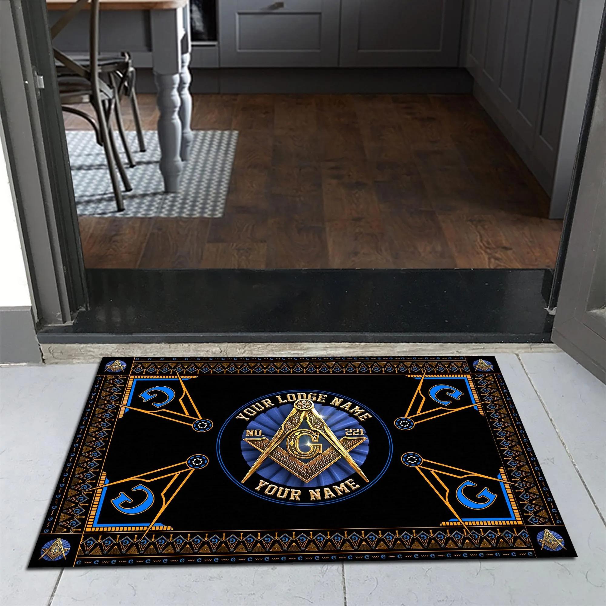 Freemasonry masonic custom lodge name number doormat 1