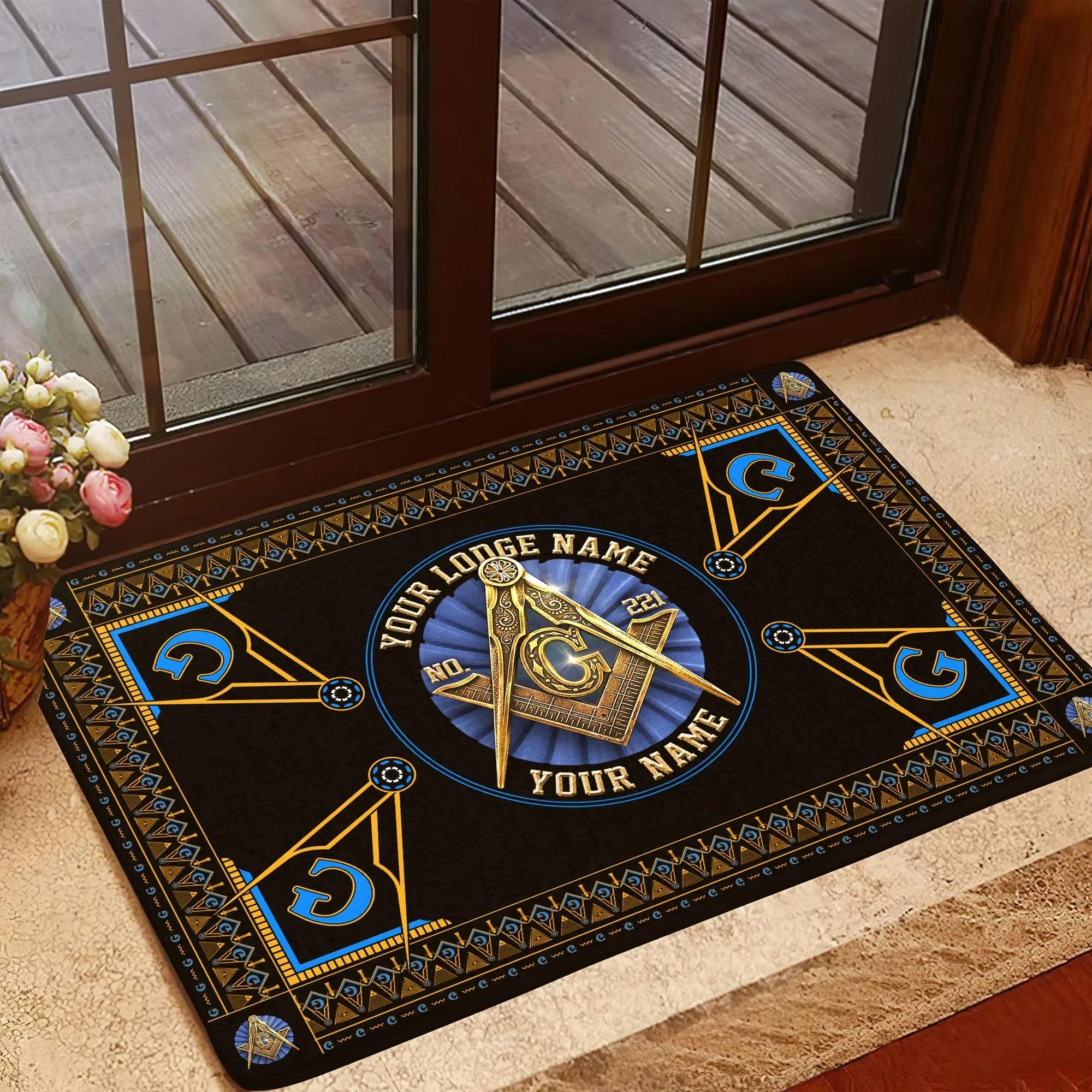 Freemasonry masonic custom lodge name number doormat 2