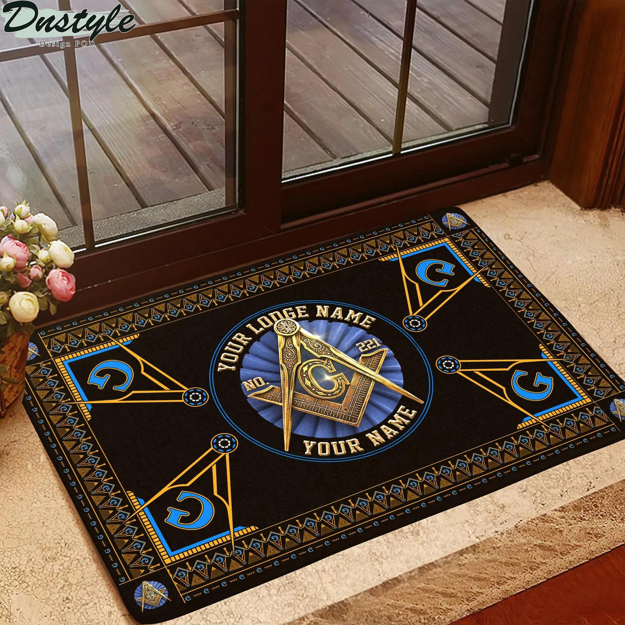 Freemasonry masonic custom lodge name number doormat