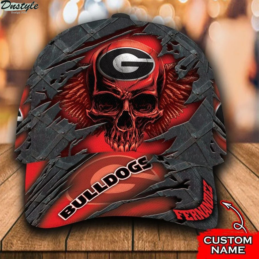 Georgia Bulldogs NCCA Skull Custom Name Classic Cap