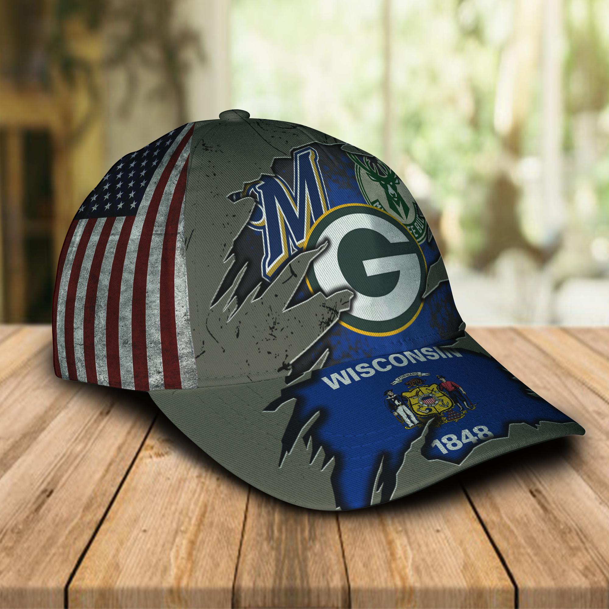 Green Bay Packers Milwaukee Brewers Milwaukee Bucks Wiscosin 1848 Cap 1